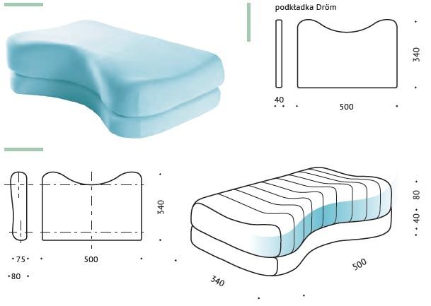 Dröm – poduszka ortopedyczna 2w1 VALDE B20 wymiary